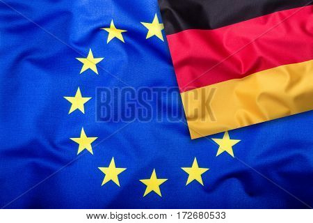 Flags of the Germany and the European Union. Germany Flag and EU Flag. Flag inside stars. World flag concept.