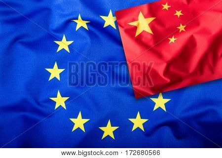 Flags of the China and the European Union. China Flag and EU Flag. Flag inside stars. World flag concept.