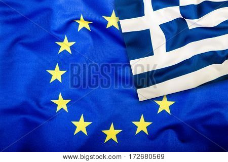 Flags of the Greece and the European Union. Greece Flag and EU Flag. Flag inside stars. World flag concept.