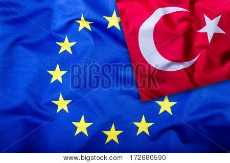 Flags of the Turkey and the European Union. Turkish Flag and EU Flag. Flag inside stars. World flag concept.