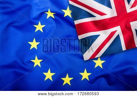 Flags of the United Kingdom and the European Union. UK Flag and EU Flag. British Union Jack flag. Flag inside stars. Brexit.