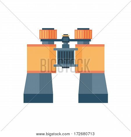 Binoculars with lens isolated on white background.Vision military instrument science space discovery instrument vector illustration. Discovery equipment optical zoom.