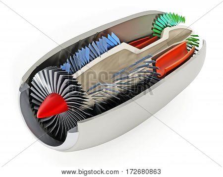 Jet engine cross section showing details 3D illustration.