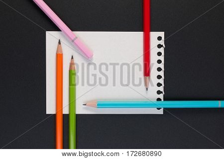 Close-up Of Business Note Paper. Template For Blank Note Paper With Colorful Pencil For Text And Not