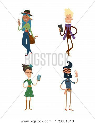 creative team people hipster business group portrait website profile about page design art-director accounter boss leader command isolated character set collection vector illustration