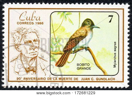 UKRAINE - CIRCA 2017: A stamp printed in Cuba shows a Bird Myiarchus sagrae. Big Bobito the series The 90th Anniversary of the Death of Juan C. Gundlach circa 1986