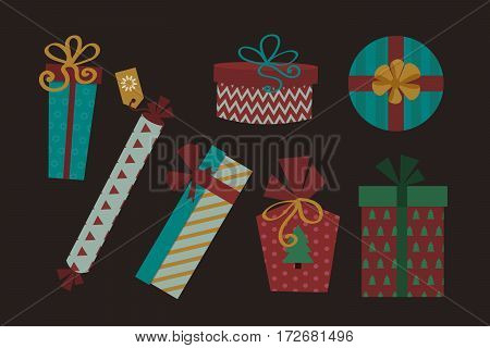 Gift box with ribbon and bow isolated. Valentine paper package vector illustration. Anniversary event satin greeting object. Festive party shopping wrap.
