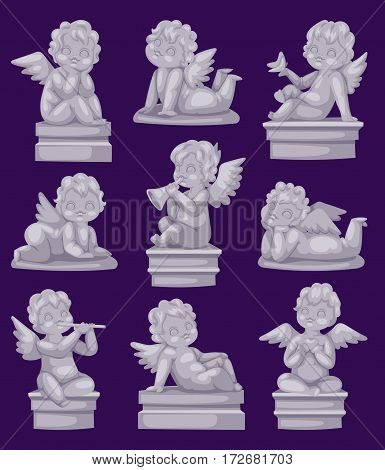 Beautiful statue of angel praying isolated marble antique sculpture and cupid boy statue stone decoration symbol vector illustration. Holy ancient beautiful baby classical religious detail.