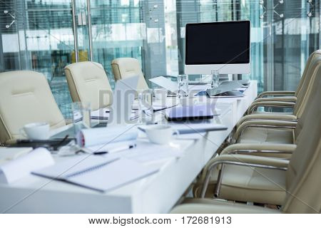 View of empty conference room in office