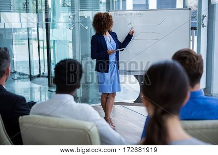 Businesswoman discussing on white board with coworkers in office