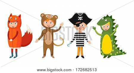 Kids different costumes isolated vector illustration. Dragon crocodile bear and fox pirate. Children party funny clothes. Playful character spooky baby superhero.