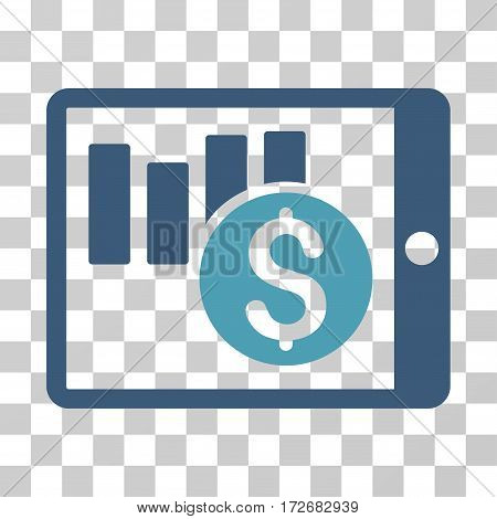 Sales Chart On PDA icon. Vector illustration style is flat iconic bicolor symbol cyan and blue colors transparent background. Designed for web and software interfaces.