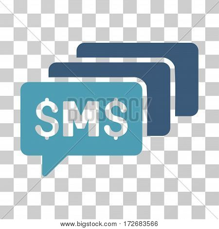 SMS Messages icon. Vector illustration style is flat iconic bicolor symbol cyan and blue colors transparent background. Designed for web and software interfaces.