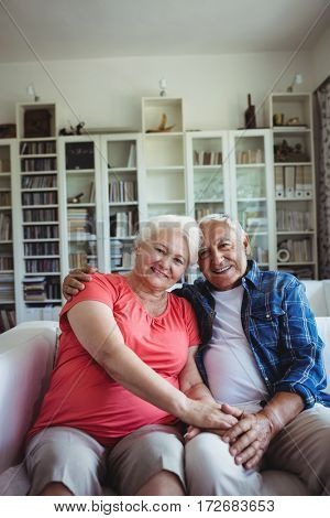 Portrait of senior couple sitting together on sofa at home