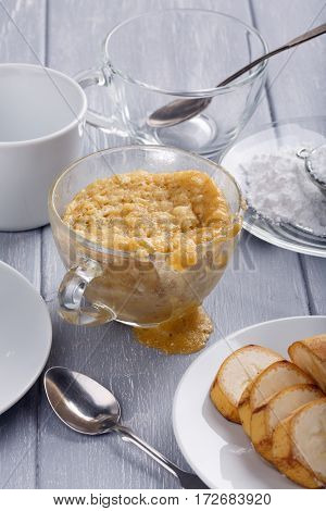 Quick banana cake in a glass mug from microwave
