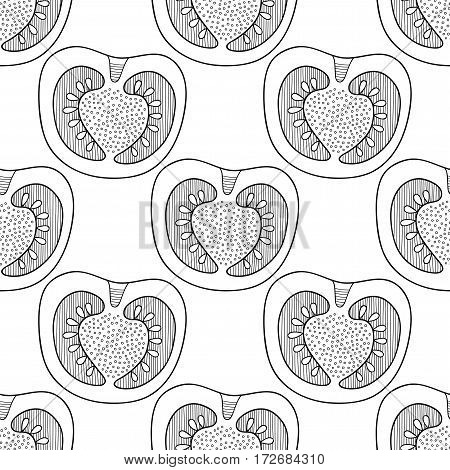 Black and white seamless pattern with tomatoes for coloring book. Vegetable background.