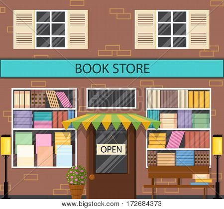 The window of a bookstore. Flat style. A lot of book on the shelves. Lantern and bench outside. Literary shop. Street showcase. Vector illustration.