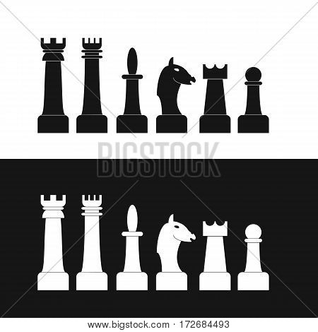 Set of chess pieces. Flat style. Black and white silhouettes of Figures. Isolated on white background. King. Queen. Knight. Elephant. Pawn. Horse. Vector illustration.