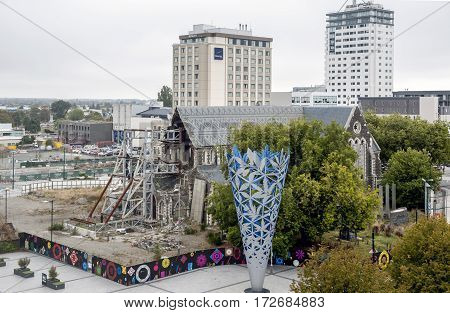 Christchurch, New Zealand - February 2016: Cathedral Square With The Chalice And Badly Damaged Chris