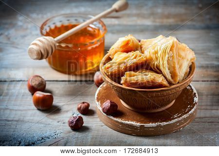 Traditional Arabic Dessert Baklava With Honey And Nuts