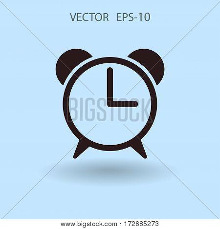 Flat icon of alarm clock. vector illustration