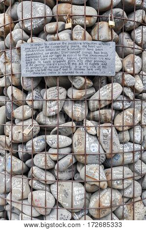 Christchurch, New Zealand - February 2016: The Stone Cairn Brought By 4,000 People In 2010 And Place