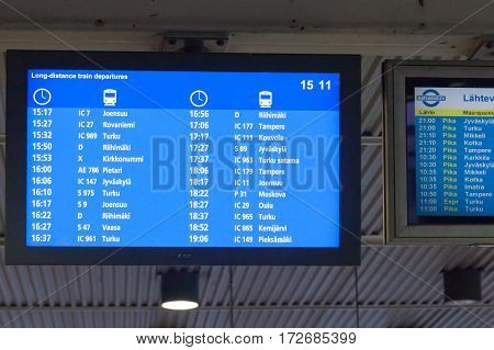 Helsinki, Finland - October 25 : Tthe Schedule Of Ferries In The Building Erminal Facility Of The Fe