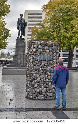 Christchurch New Zealand - February 2016: The stone cairn brought by 4000 people in 2010 and placed at the Cathedral Square to protest against the sacking of Environment Canterbury councillors and the appointment of commissioners in their place.