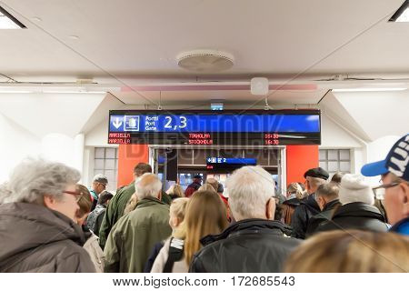 Helsinki, Finland - October 25 : Passengers Expect Landing To The Ferry In The Building Of The Vikin