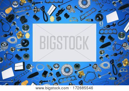 Spare auto parts car on the blue background set. Frame for advertising and assembled from auto parts, spare parts. Many repair part are located on the edge of the image. OEM.