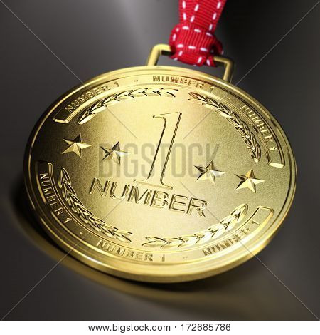 Golden medal with the text number one over dark background. Composite between an image and a 3D illustration. Concept of business or sport ambition.