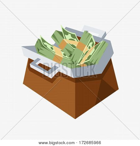 Dollar paper business finance money stack in bag of bundles us banking edition and banknotes bills isolated wealth sign investment currency vector illustration. American loan commerce concept.