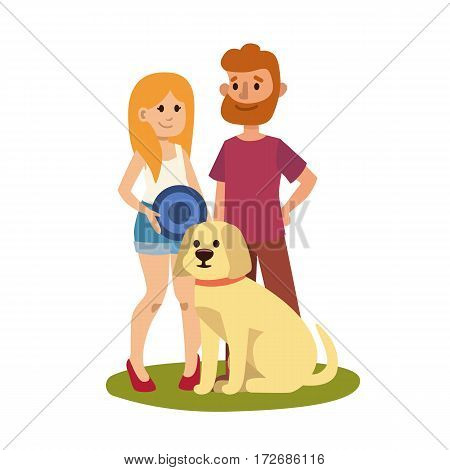 Young couple family resting happy lifestyle park outdoors together enjoying vacation and woman with man and dog friendship leisure vector illustration. Summer characters with animal.