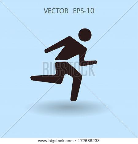 Flat icon of running man. vector illustration