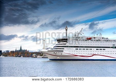 Stokcholm,sweden-october 26: The Ferry Viking Line Is Moored At The Mooring In The City Of Stockholm