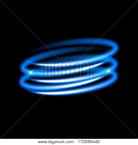 Neon blue circles. Light effect. Vector illustration.