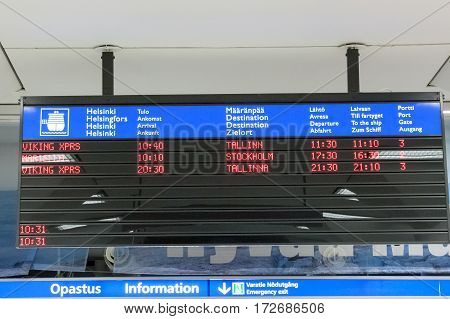 Helsinki, Finland - October 27 : Tthe Schedule Of Ferries In The Building Erminal Facility Of The Fe