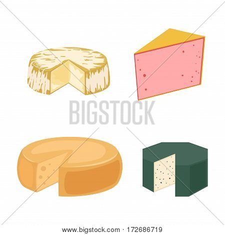 Delicious fresh cheese variety italian dinner icon flat dairy food and milk camembert piece different delicatessen gouda set isolated vector illustration. Traditional sort old cheddar delicious.