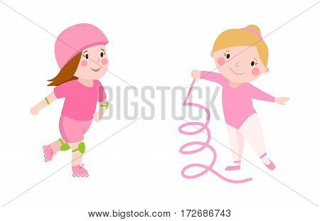 Roller beautiful girl funny sports character skating outdoor summer children hobby and cute young female in pink gymnast with ribbon happy leisure dancer vector. Active healthy lifestyle.