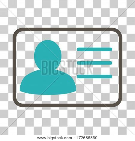 Account Card icon. Vector illustration style is flat iconic bicolor symbol grey and cyan colors transparent background. Designed for web and software interfaces.