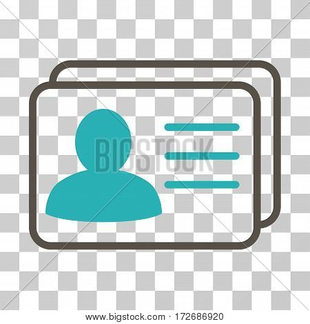 Account Cards icon. Vector illustration style is flat iconic bicolor symbol grey and cyan colors transparent background. Designed for web and software interfaces.