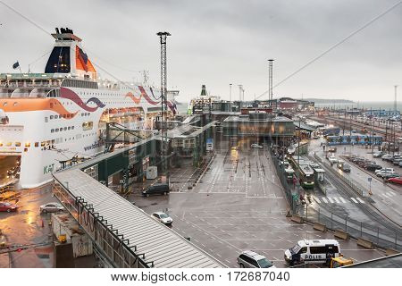 Helsinki, Finland - October 25 : The Ferry Boat Tallink Is Moored At The Mooring In Port Of The City