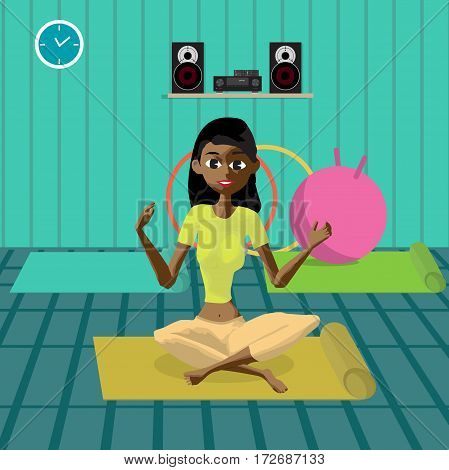 Young beautiful afro woman sitting in yoga pose in the gym. Flat cartoon vector illustration