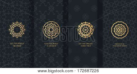 Collection of black backgrounds and golden calligraphic elements. Set of labels icons logos in islamic oriental eastern style.Templates with luxury foil for packaging