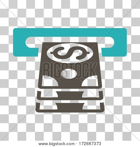Bank Cashpoint icon. Vector illustration style is flat iconic bicolor symbol grey and cyan colors transparent background. Designed for web and software interfaces.