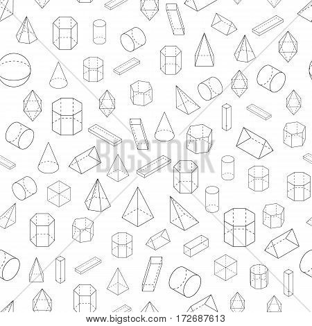 Set of 3D geometric shapes. Isometric views. Seamless pattern. The science of geometry and math. Linear objects isolated on white background. Outline. Vector illustration.