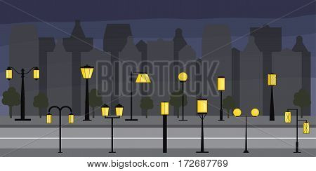 Panorama Of The City. Set of streetlights. Illumination of the town. Silhouettes of buildings at night. Electric light lamps. Vector illustration.