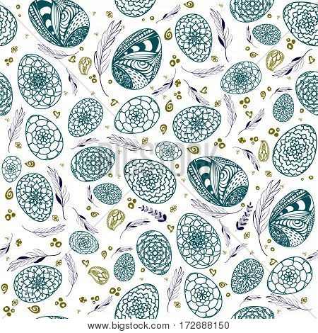 Decorative Easter Seamless Pattern With Hand Drawn Ornamental Eggs And Floral Elements. Doodle Style