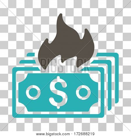 Burn Banknotes icon. Vector illustration style is flat iconic bicolor symbol grey and cyan colors transparent background. Designed for web and software interfaces.