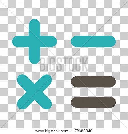 Calculator icon. Vector illustration style is flat iconic bicolor symbol grey and cyan colors transparent background. Designed for web and software interfaces.